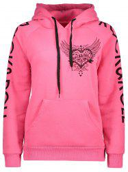 Drawstring Letter Printed Funny Hoodie - PINK