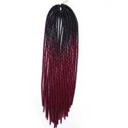 Long Braids Heat Resistant Fiber Hair Extension - BLACK AND RED