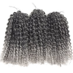 Short Fluffy Curly Heat Resistant Fiber Hair Extension - BLACK AND GREY