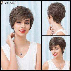 Siv Hair Short Inclined Bang Layered Silky Straight Human Hair Wig