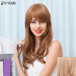 Siv Hair Long Slightly Curled Oblique Bang Human Hair Wig