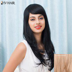 Siv Hair Long Inclined Bang Silky Slightly Curled Human Hair Wig