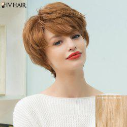 Siv Hair Short Pixie Layered Inclined Bang Straight Human Hair Wig