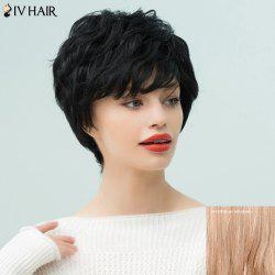 Siv Hair Pixie Short Inclined Bang Curly Human Hair Wig