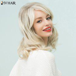 Siv Hair Medium Inclined Bang Slightly Curled Human Hair Wig - COLORMIX