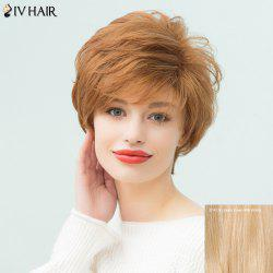 Siv Hair Layered Short Pixie Curly Side Bang Human Hair Wig - GOLDEN BROWN WITH BLONDE