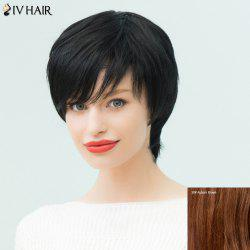 Siv Hair Short Layered Silky Straight Inclined Bang Human Hair Wig