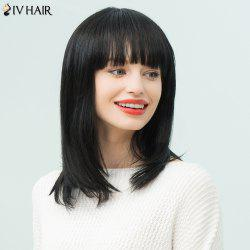 Siv Hair Medium Neat Bang Silky Straight Bob Human Hair Wig