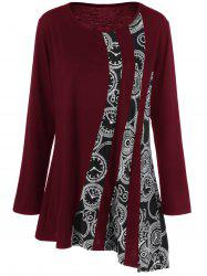 Plus Size Printed Asymmetric Tunic T-Shirt - DEEP RED