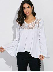 Lace Panel Bell Sleeve Blouse -