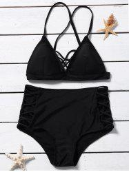 Lace Up High Waisted Triangle Bikini Set - BLACK S