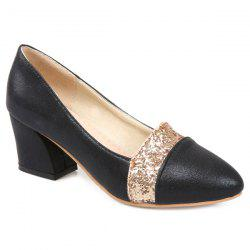 Pointed Toe Sequined Pumps - BLACK
