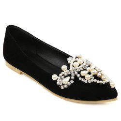Faux Pearls Pointed Toe Flat Shoes - BLACK