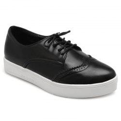 Tie Up Pointed Toe Athletic Shoes - BLACK 38