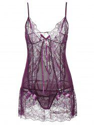 See-Through Lace Insert Babydoll