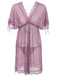 Low Cut See-Through Lace Insert Babydoll - PALE PINKISH GREY