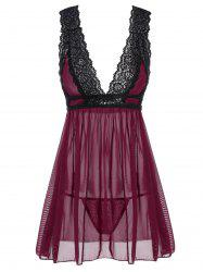 Low Cut See-Through Lace Sleepwear Trim Babydoll - DEEP RED