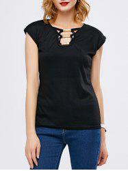 Strappy Ribbed Short Sleeve T-Shirt