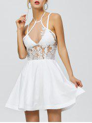 Halter Backless Short Skater Homecoming Dress - WHITE