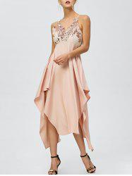 Sequin Nude Handkerchief Cami Midi Night Out Dress - LIGHT APRICOT PINK