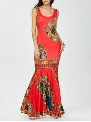 African Tribal Print Long Fitted Mermaid Dress - RED