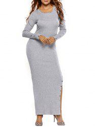 Slit Rivet Maxi Bodycon Knit Dress