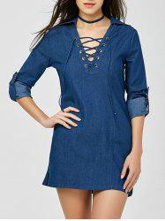 V Neck Mini Lace-up Denim Dress -