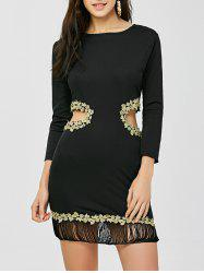 Fringed Cut Out Applique Long Sleeve Bodycon Dress