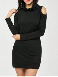 Cold Shoulder Long Sleeve Mini Bodycon Dress -