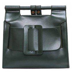 Belt Buckle PU Leather Crossbody Bag -