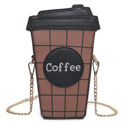 Coffee Cup Plaid Crossbody Bag - BLACK