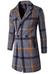 Lapel Collar Buttoned Wool Blend Plaid Coat