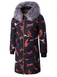 Zip Up Camo Coat rembourré avec Furry capot - Rouge XL