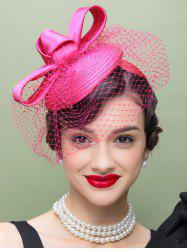 1940s Satin Pillbox Hat with Veil Bowknot