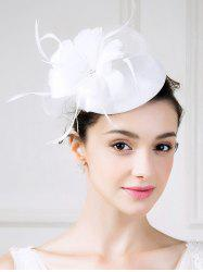 Fascinator Flower Embellished Pillbox Hat - WHITE