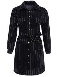 Button Up Stripe Belted Fitted Shirt Dress