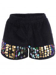 Plus Size High Waisted Corduroy Sequined Shorts