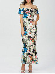 Floral Print Maxi Off The Shoulder Dress
