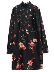 Ruffle Floral Mock Neck Long Sleeve Dress