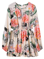 Long Sleeve Floral Print Waist Cutout Dress - FLORAL L