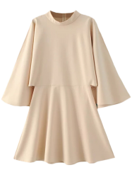 Split Bell Sleeve A Line Dress - OFF-WHITE