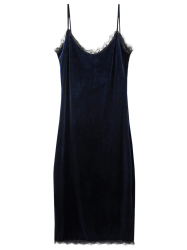 Eyelash Lace Cami Velvet Dress