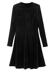 Velvet Stand Neck Long Sleeve A-Line Dress