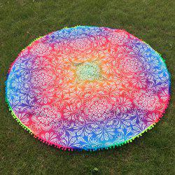 Colorful Ombre Retro Printed Small Pompon Round Beach Throw -