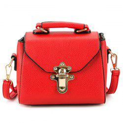 Faux Leather Studded Crossbody Bag - RED