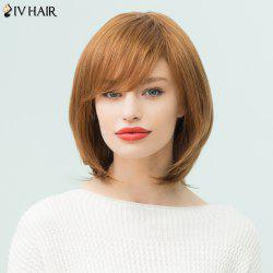 Siv Hair Medium Side Bang Layered Bob Straight Human Hair Wig - AUBURN BROWN #30