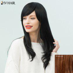Siv Hair Long Oblique Bang Slightly Curled Human Hair Wig