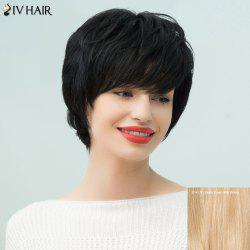 Siv Hair Silky Straight Short Layered Side Bang Human Hair Wig