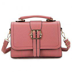 Buckle Strap Faux Leather Crossbody Bag -