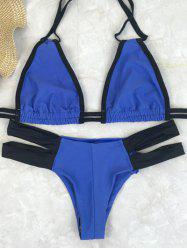 Trendy Contrast Strap High-Cut Women's Bikini Set